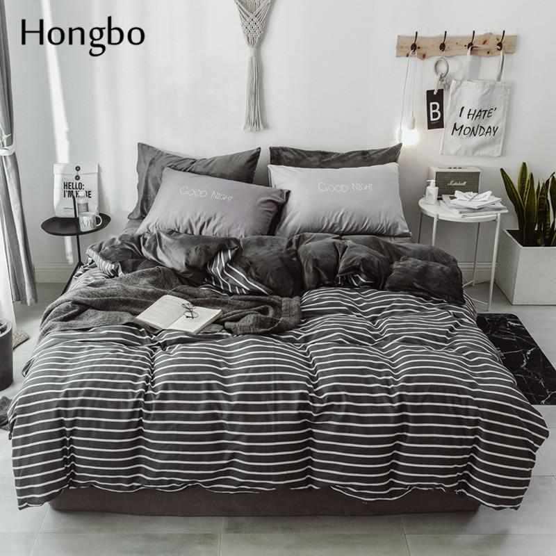 Hongbo New Thick Kristall Velvet Black White Stripe Bettwäsche-Sets Bettwäsche Bettbezug Bettlaken Pillowcase Winter warm Set