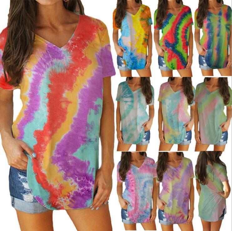 القمصان أنثى التعادل صبغ عارضة الملابس الصيفية V الرقبة طباعة زي إمرأة كم قميص بلوزة الأعلى زائد حجم قمم القمصان AHB995