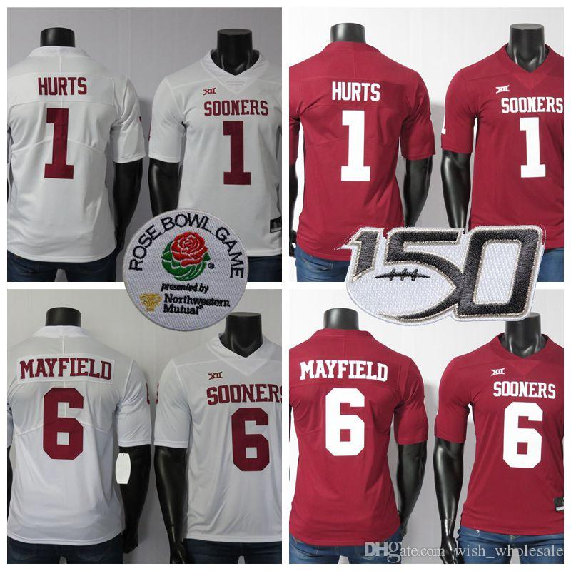 NCAA Oklahoma Sooners Jerseys 6 Baker Mayfield Jersey 1 Jalen fere o 2019 New White Red College Football Jersey costurado 150 ANOS