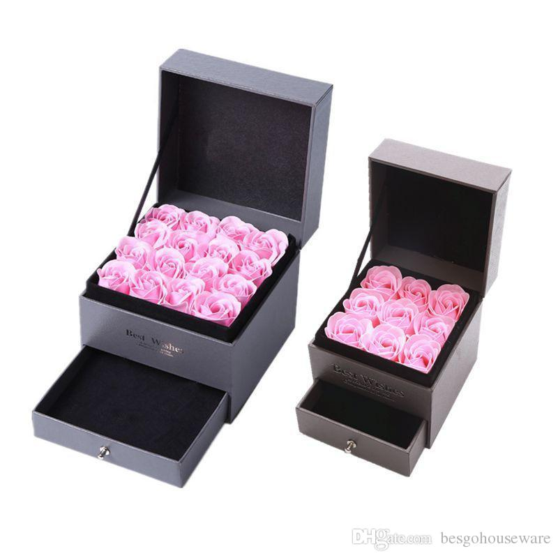 Artificial Rose Romantic Valentine's Day Wedding Mother's Day Festival Creative High Grade Gift Rose Soap Flower Jewelry Box Set BH1277 DBC