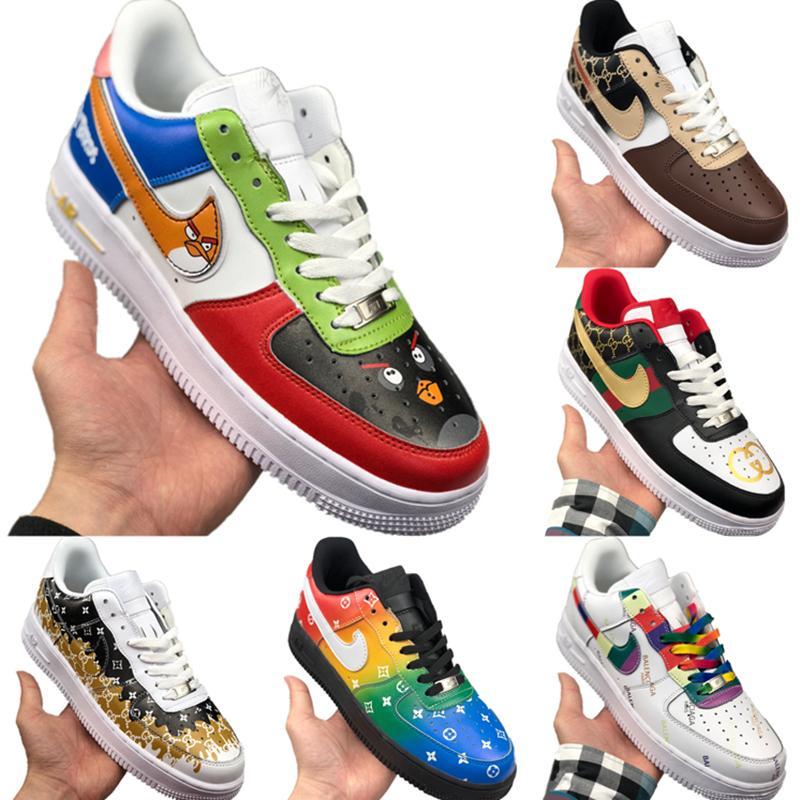 С Box 2020 AF1 Low Cut кожа Скейтборд обувь Origial AF1 Low Top Buffer резиновые built_in Увеличить Air Наполняющие Спортивная обувь