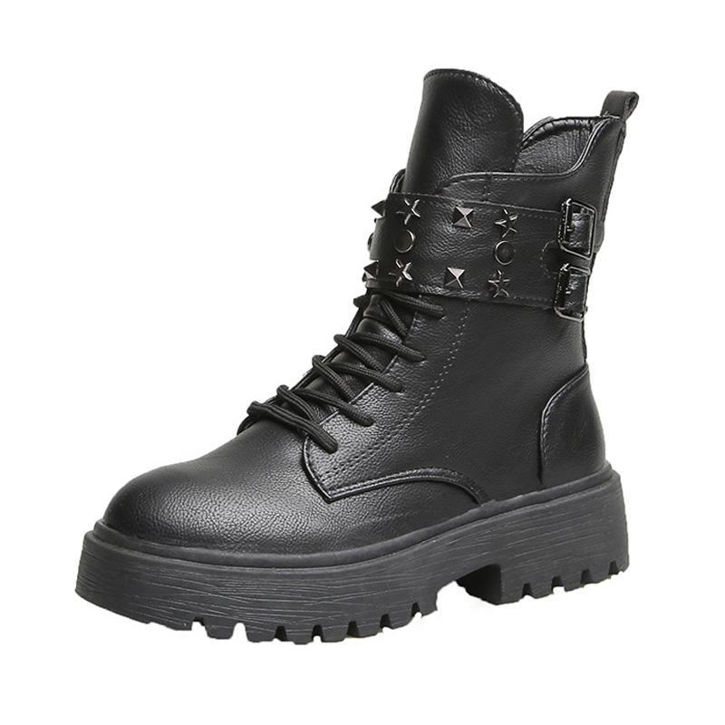 2020 Moda Perçinler Deri Ayakkabı Kadınlar Kış Ayakkabı Kalın Sole Kadınlar Motosiklet Boots Kadın Bilek Patik Siyah YX1989 Soğuk