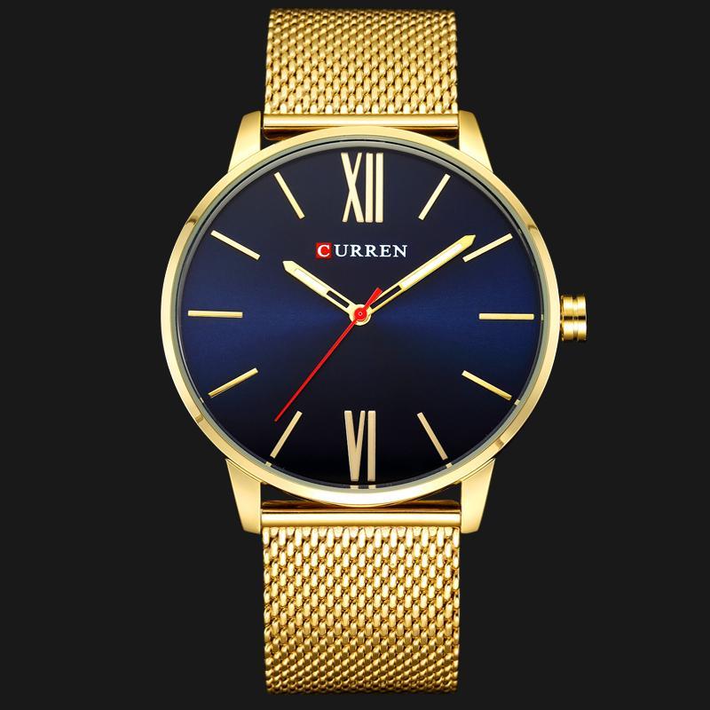 Erkekler Saatler En Marka Lüks CURREN Moda İş Askeri Kuvars saatler Su geçirmez Erkek Saat Altın Relogio Masculino
