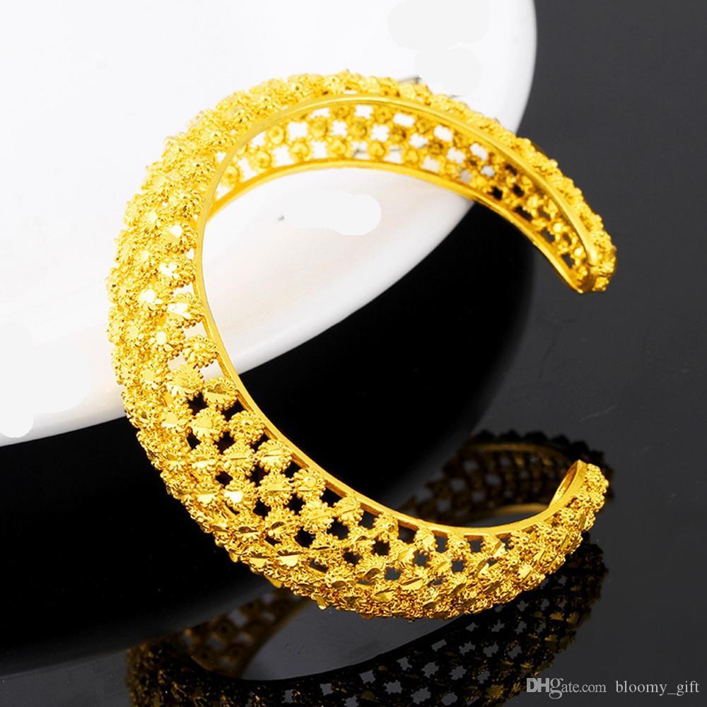 Polsino della maglia braccialetto squisito oro giallo 18k riempito solido braccialetto delle donne Bella festa nuziale di 60 millimetri Dia regalo