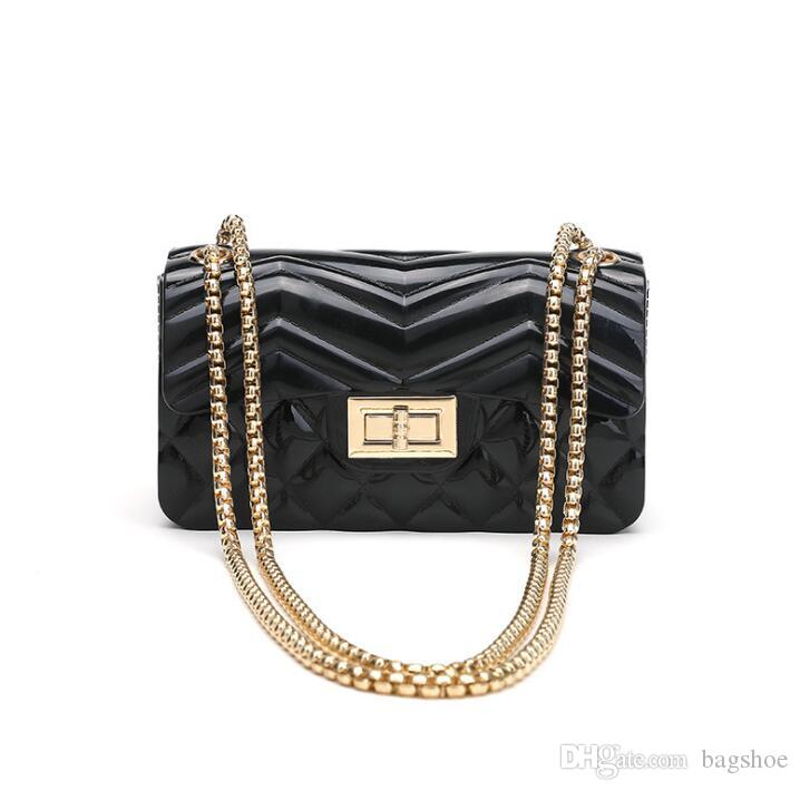 Summer jelly packet Han Chao wild diagonal shoulder fashion mini chain small square bag Cross Body