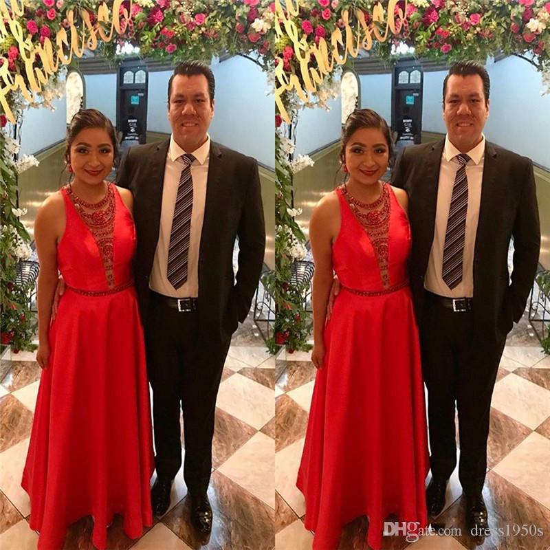 Satin bodenlangen Juwel mit Pailletten Aline Prom Kleider Abendkleid nach Maß Abendkleid