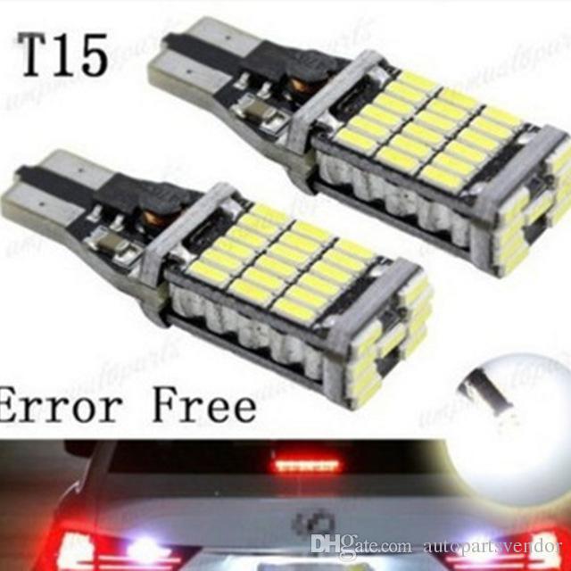 10pcs/lot T15 921 W16W 45SMD 4014 LED Auto Lamp CANBUS NO ERROR Backup Reverse Side Marker Light White/Red/Amber DC12V