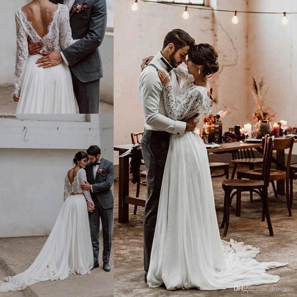 Vintage neuf deux pièces robes de mariée pure dentelle cape mousseline de mousseline de mousseline de mariée robes de jardin de style campagnard robes de mariée de jardin