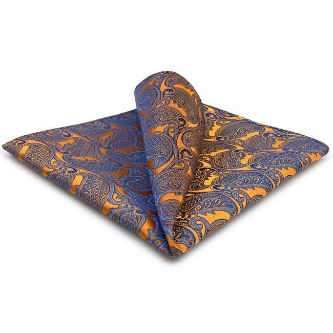 UH26 페이즐리 오렌지 블루 손수건 넥타이 실크 손수건 포켓 스퀘어 실크 큰 크기의 웨딩