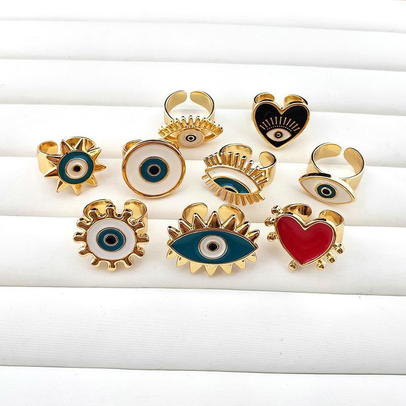 جديد وصول المينا المجوهرات شكل قلب العتاد الدائري ، والذهب تصفيح العين قابل للتعديل عصابة المجوهرات هدية R196