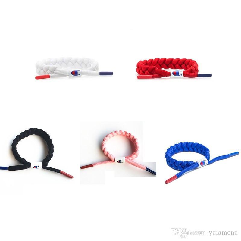 Unisex Cham pioni Lettera merletto Wristband nylon Sneakers gioielli intrecciato Lace Bracciali Via Hip Hop Accessori Regali