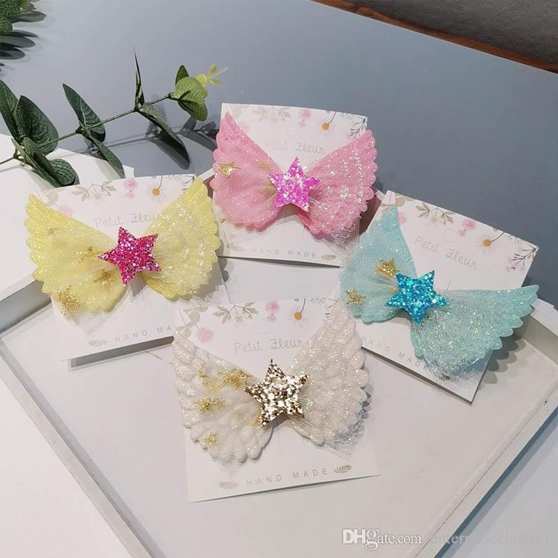 INS coreano lace cabelo arcos meninas grampos de cabelo asas de anjo princesa bebê clips bonito crianças presilhas de designer de acessórios de cabelo