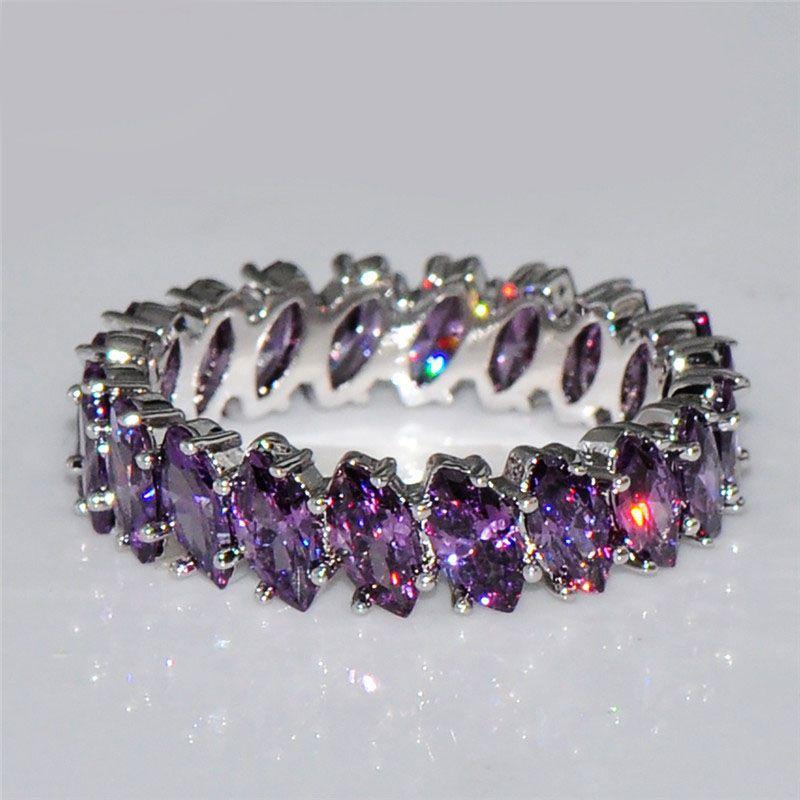 Bayanlar Mor Renkli Kristal Zirkon Yüzük Klasik Yüksek Kalite Gelin Evlilik / Yıldönümü Takı L5H225