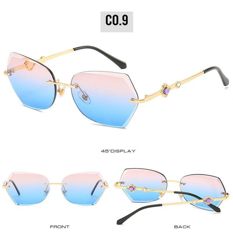 rimless aparado óculos sem aro dos óculos de sol da marca Mulheres Vintage Designer Cat Eye óculos de sol rosa da forma Óculos Frameless aparamento ZSOhp