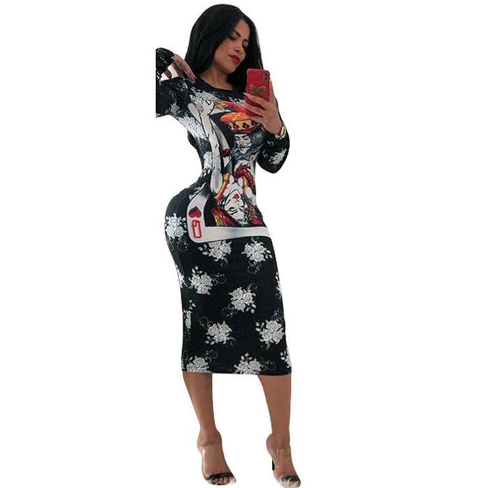 Kadın Yaz Tasarımcı Çiçek Seksi Elbise Uzun Kollu Mürettebat Boyun Seksi Stil Bayan Giyim Casual Giyim yazdır