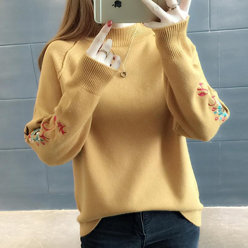 Knittwear Uzun Kollu Casual Kısa Örme Kadın Kadın Kore 2019 Sonbahar Kış Yeni Kadın Giyim Nakış Triko YY015 Tops