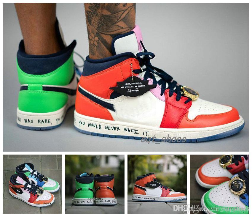 2020 Новый релиз 1 1s баскетбол обувь Mid Бесстрашный X Мелодия Ehsani Оранжевый зеленый мандарин утка золотые часы сплайсинга Мужчины Женщины Спортивная обувь