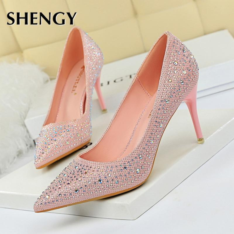 SHENGY Wedding Shoes High Heels Thin Heels Shallow Mouth Pointed Toes Sexy Party Rhinestone Single Shoes