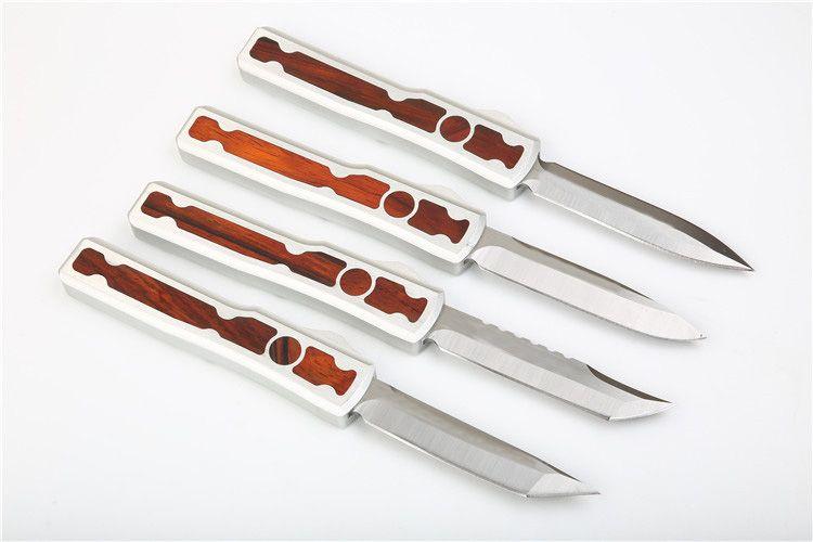 Large Size Auto Tactical Knife D2 Satin Blade T6061+Wood Handle EDC Pocket Knives With Nylon Sheath Xmas Gift
