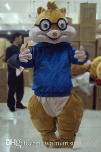 2019 de alta qualidade Adorável Brown Alvin e os Esquilos Mice Rato Rato Chipmuck Mascot Costume Mascotte