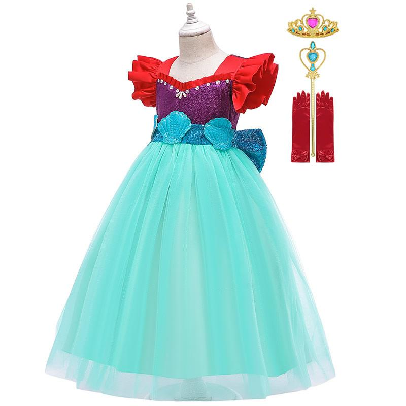 Little Mermaid Dress Up Dress Girls Fluffy Princess Costumes Summer Kids Fancy Clothes Children Halloween Cosplay Party Outfits