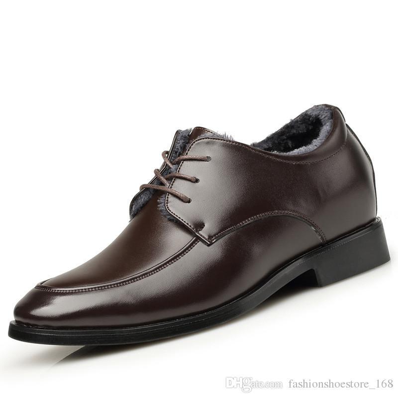 Höhe Zunehmende Männer Echtes Leder Kleid Schuhe Winter Warme Samt Elegante Geschäfts Formalen Männer Büro Lace-up Oxford Schuhe Für Männer