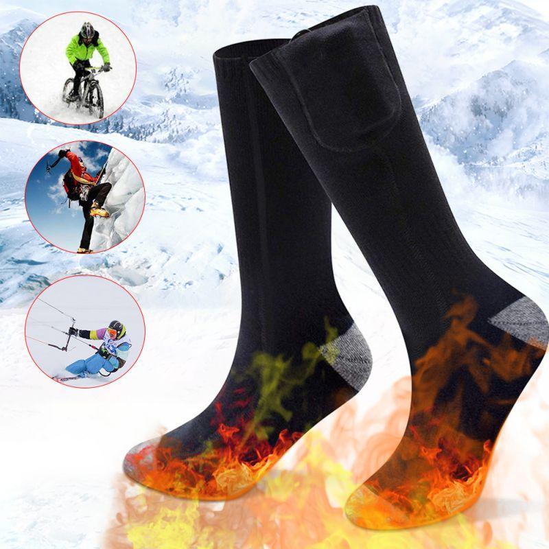 Chaussettes unisexes électriques 2200m Thermostat de charge batterie au lithium Socks chauffage peut être lavé et chaud