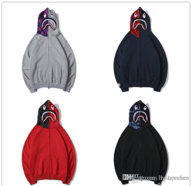 Autumn Winter Lover's Hip Hop Camo Streetwear Hoodies Men Women 4 Color Red Gray Black Fleece Sweater Hoodies