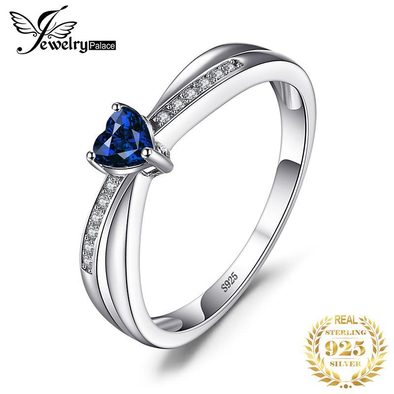 JPALACE Kalp Oluşturulan Mavi Safir Yüzük 925 Ayar Gümüş Yüzükler Kadınlar Için Promise Nişan Yüzüğü Gümüş 925 Taş Takı LY191226