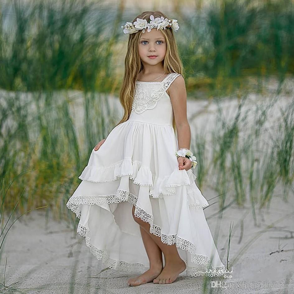 Ucuz Yüksek Düşük Bohemia Dantel Çiçek Kız Elbise Için Plaj Düğün Pageant Abiye Bir Çizgi Boho Çocuklar İlk Komünyon Elbise