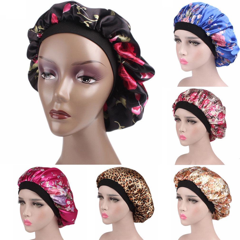 جديد fshion ورق المرأة الحرير ليلة النوم كاب الشعر القبعة بونيه غطاء الرأس الحرير واسعة مطاطا باند