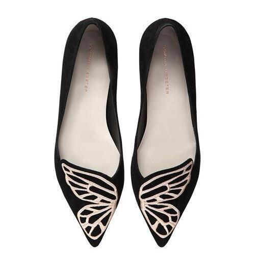 2020 yeni BIBI Kelebek Kanat Siyah Mavi İşlemeli Burun Ballet Flats Süet Deri Sivri Burun loafer'lar Chaussure Femmesbe2b # yassı