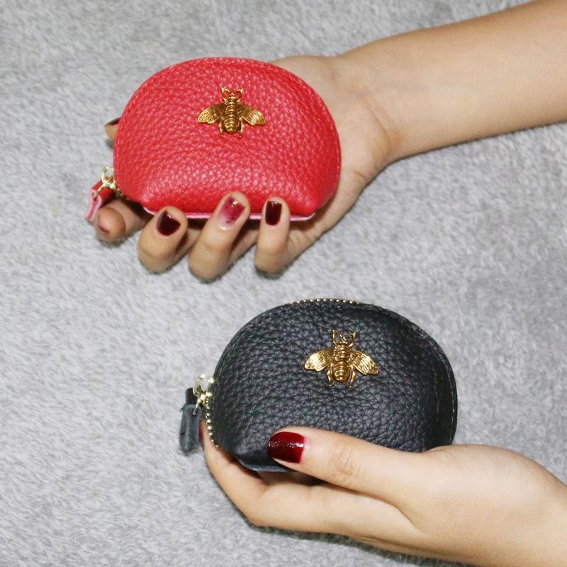 2020 Nouveau cuir véritable petit court simple, sac à glissière portefeuille fermeture à glissière portefeuille femmes Hipster sac monnaie peau de vache sac pièce