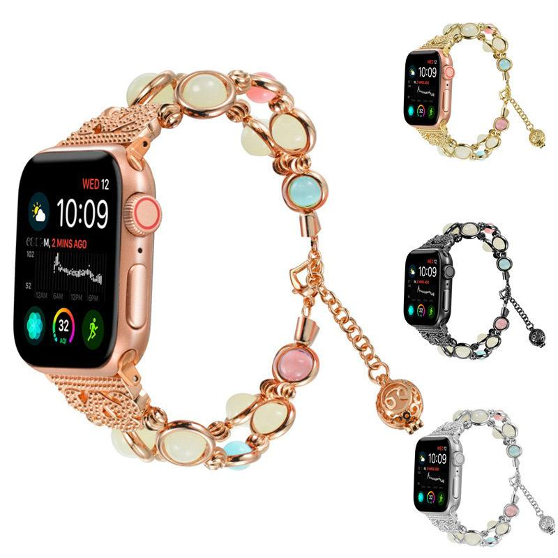 Fluorescence Woman Jewellery Bracelet Watch Strap for Apple Watch 1 2 3 4 5 Stainless Steel Band for Iwatch 38 42 40 44mm Strap Adjustable