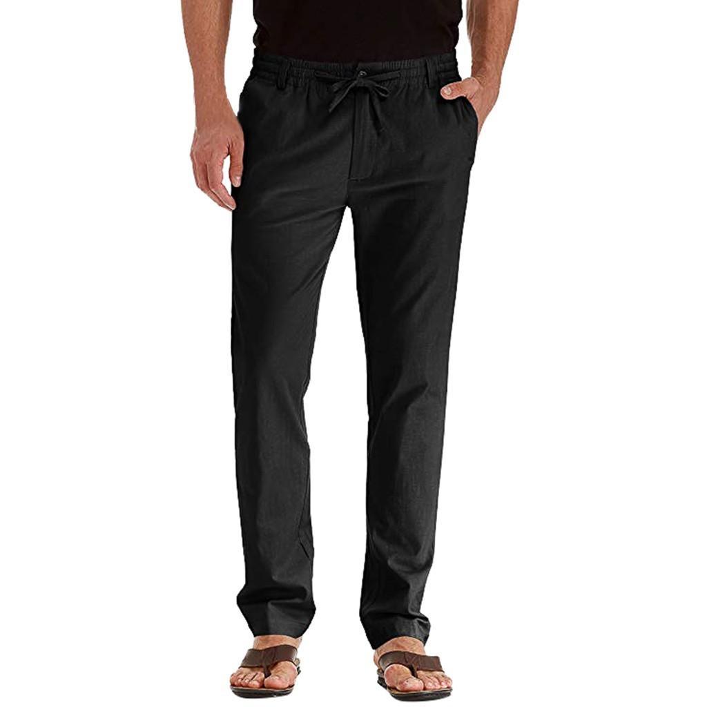 Casual Lino traspirante allentati lunghi pantaloni neri Mens Pantaloni sportivi degli uomini di colore solido pantaloni diritti pantaloni di sport degli uomini Fitness