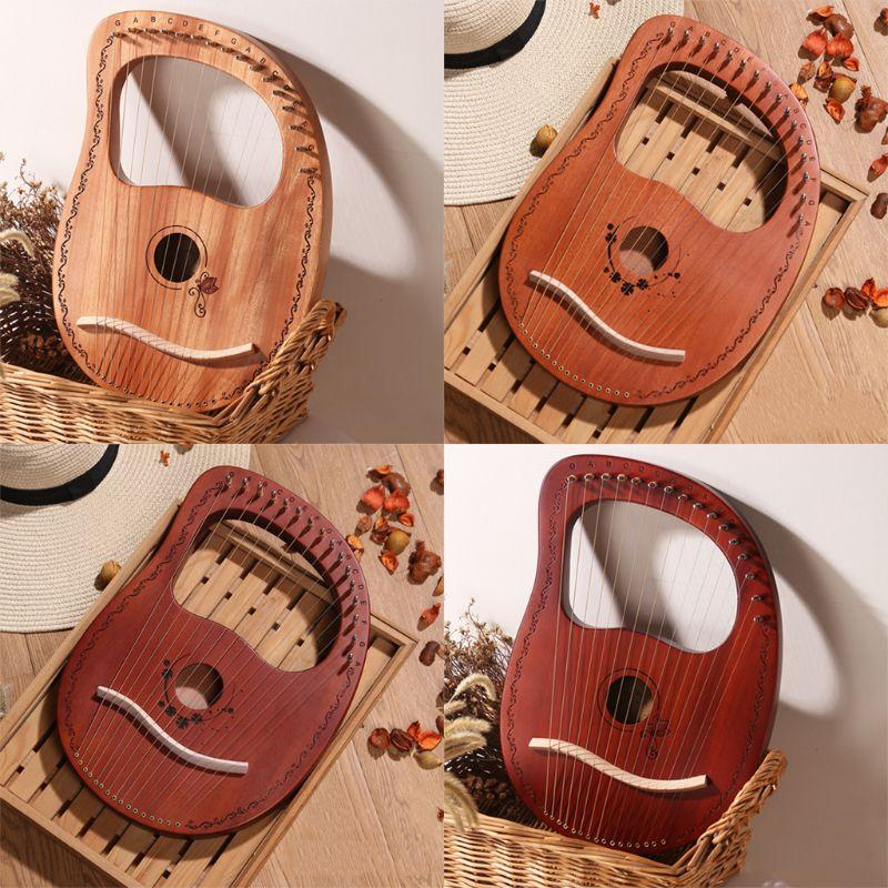 Portable Lyre Harp 16 cordes en bois Remarques harpe Kit instrument de musique à cordes