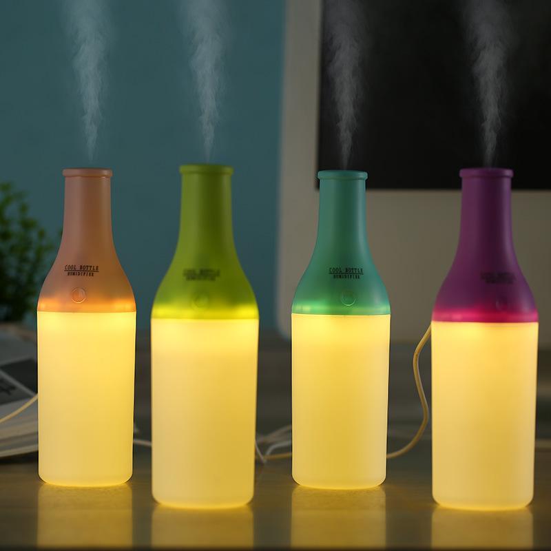 Pop2019 Serin Şişe Hediye Özelleştirilmiş Araç Ev Mobilya Usb Masaüstü Islak Renkli Gece Işığı Nemlendirici Arıtma Artırmak