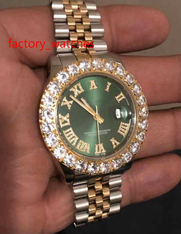 Top Quality 43MM Prong set diamonds Wristwatches two tone Stainless steel case green face Automatic Mechanical Mens big diamond Watches