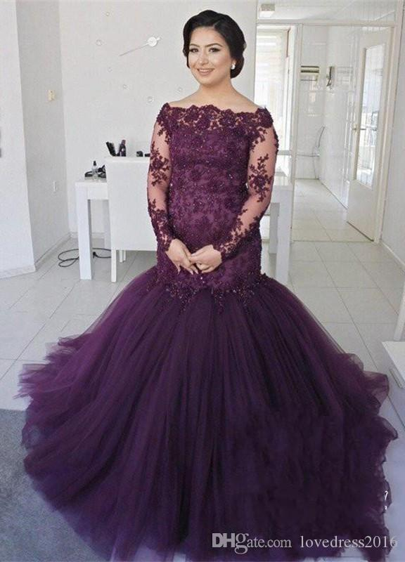 2019 Mermaid Plus Size Evening Dresses Bateau Neck Lace Applique Long Sleeves Tulle Mother of the Bride Prom Formal Gowns