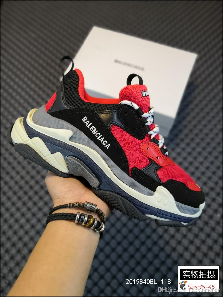 Original Triple S 17fw Sneakers Mens Womens Pairs CasualBalenciaga Shoes Vintage Kanye West Old Grandpa Trainer Sneaker SIZE 36 45 Childrens Shoes