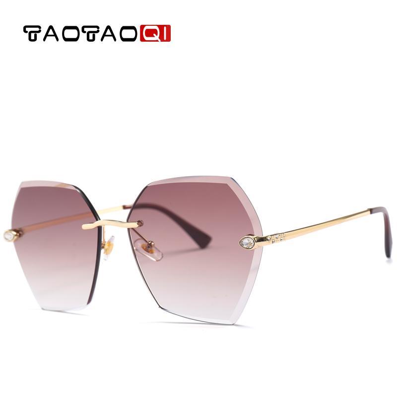 Venda Por Atacado óculos de sol de luxo mulheres designer de moda sem aro strass óculos de sol feminino uv400 óculos vintage oculos