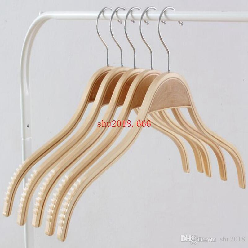 free shipping Sublight Anti-Slip splint hang hanger Women's clothing store wood clothes support adult children's hanger
