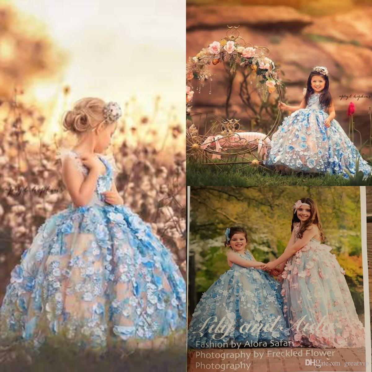 Foto reali Blue Princess Flowes Ragazze Abiti da spettacolo Appliques Perline Bambini Toddlers Festa di compleanno Abiti da sposa