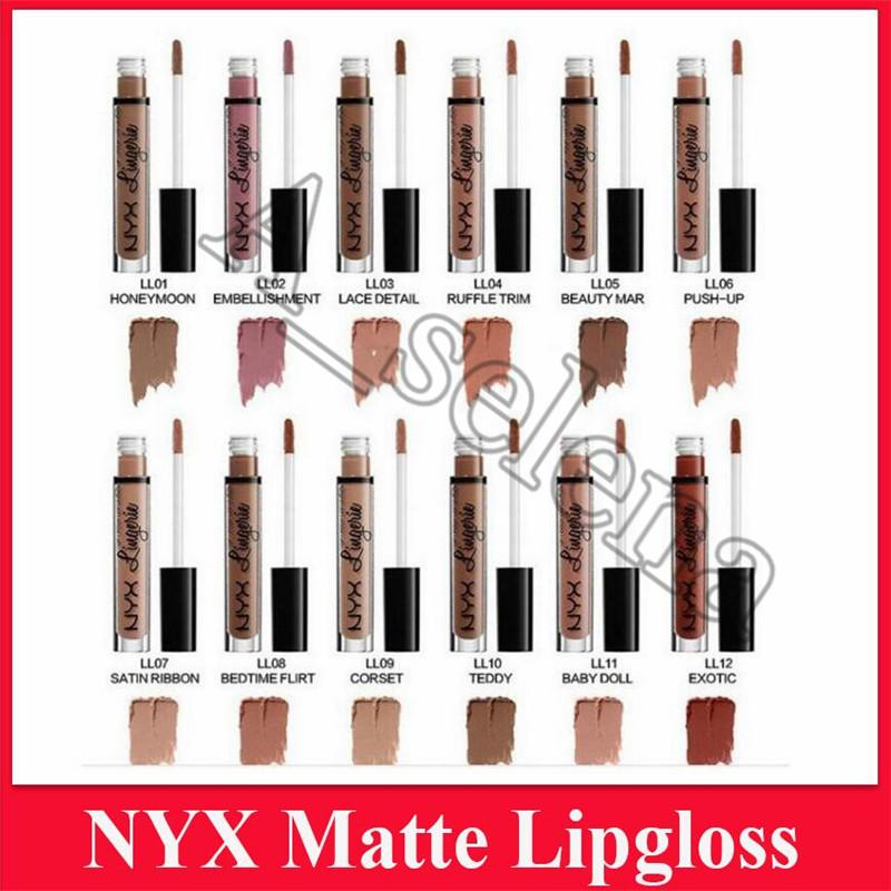 NYX 12 colors matte lip lingerie lip cream Lip gloss Lipstick vintage long lasting 4ml Professional Makeup