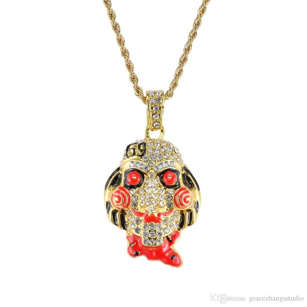 the movie saw Cartoon mask pendant necklaces for men women western hip hop luxury diamonds necklace Cuban twist chain jewelry golden silver