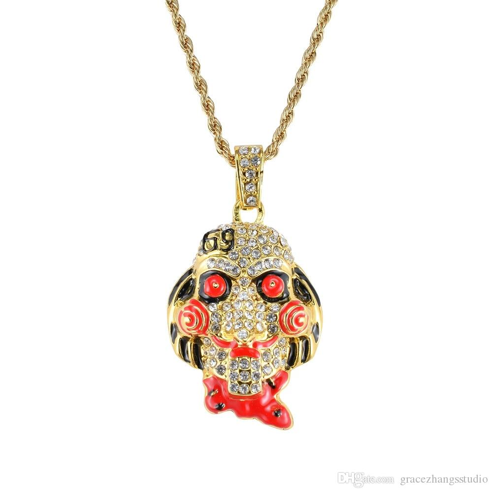 the movie saw Cartoon mask pendant necklaces for men women western hip hop luxury diamonds necklace Cuban twist chain jewelry golden silver