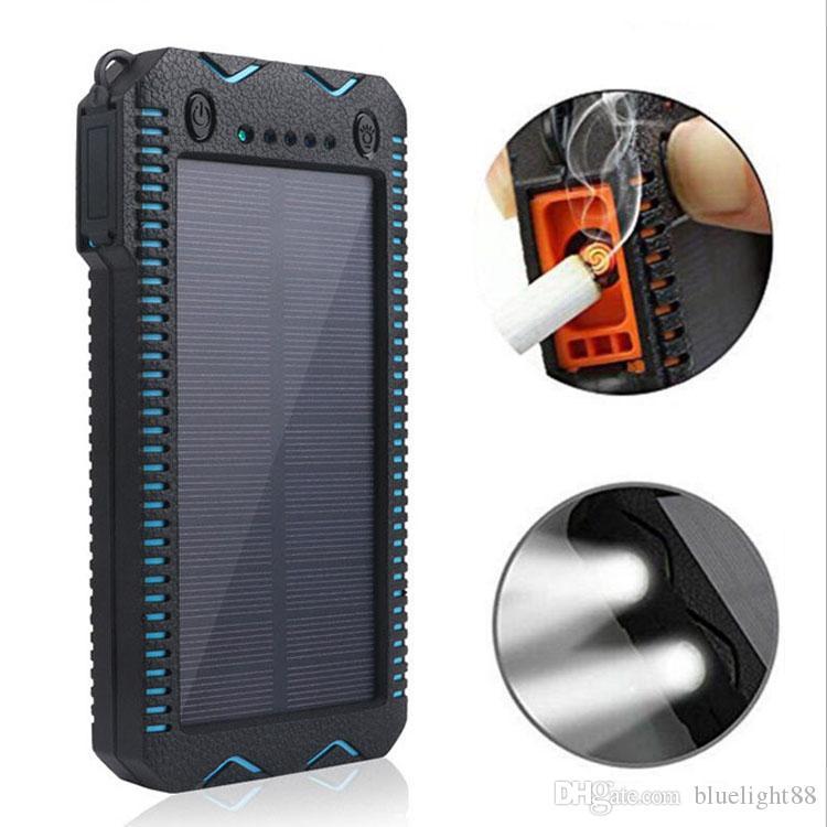 Cargador solar de la energía del banco 20000mAh Solar dos puertos USB externos solar y plug-in para Smartphone con luz LED