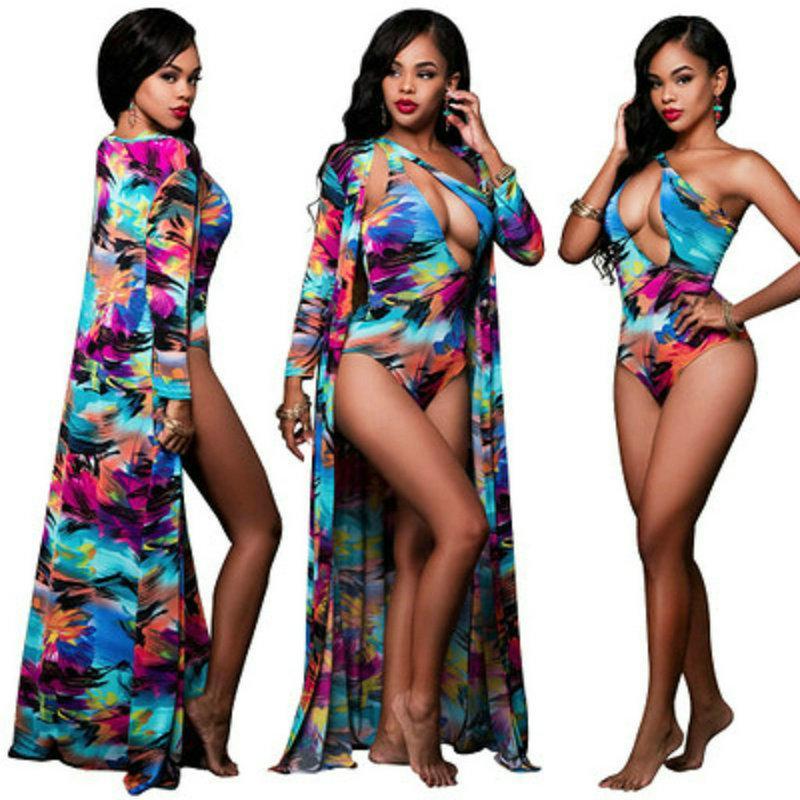 الدعاوى عالية الجودة ملابس السباحة اثنان امرأة والاخفاء ملون الطباعة كم طويل شال سيدة ملابس السباحة واحد في الكتف