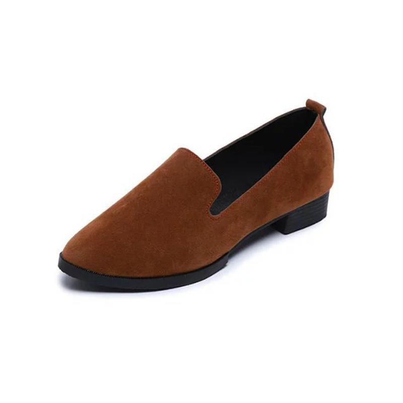 حار بيع مصمم أحذية اللباس 5 لون 2019 جديد من جلد الغزال جولة رئيس كسول واحد منخفض كعب الفم الضحلة مع المرأة عارضة مريحة