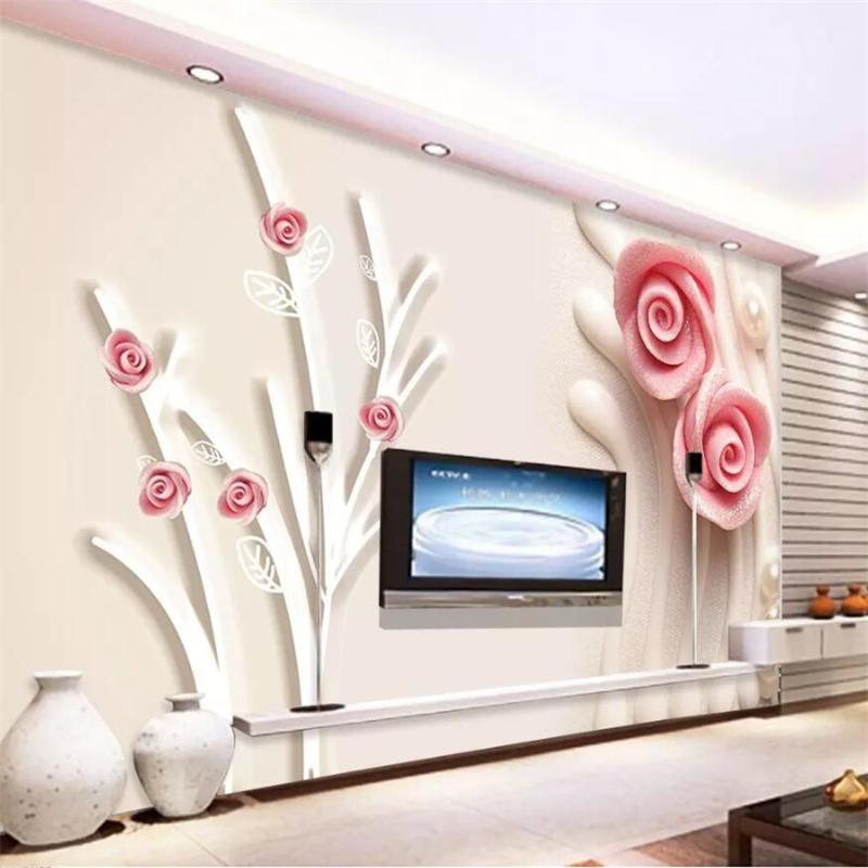 벽화 맞춤형 대형 벽지 벽화 3D 핑크 로즈 스테레오 사진 벽지 5D 지점 진주 보석 배경 8D 벽지